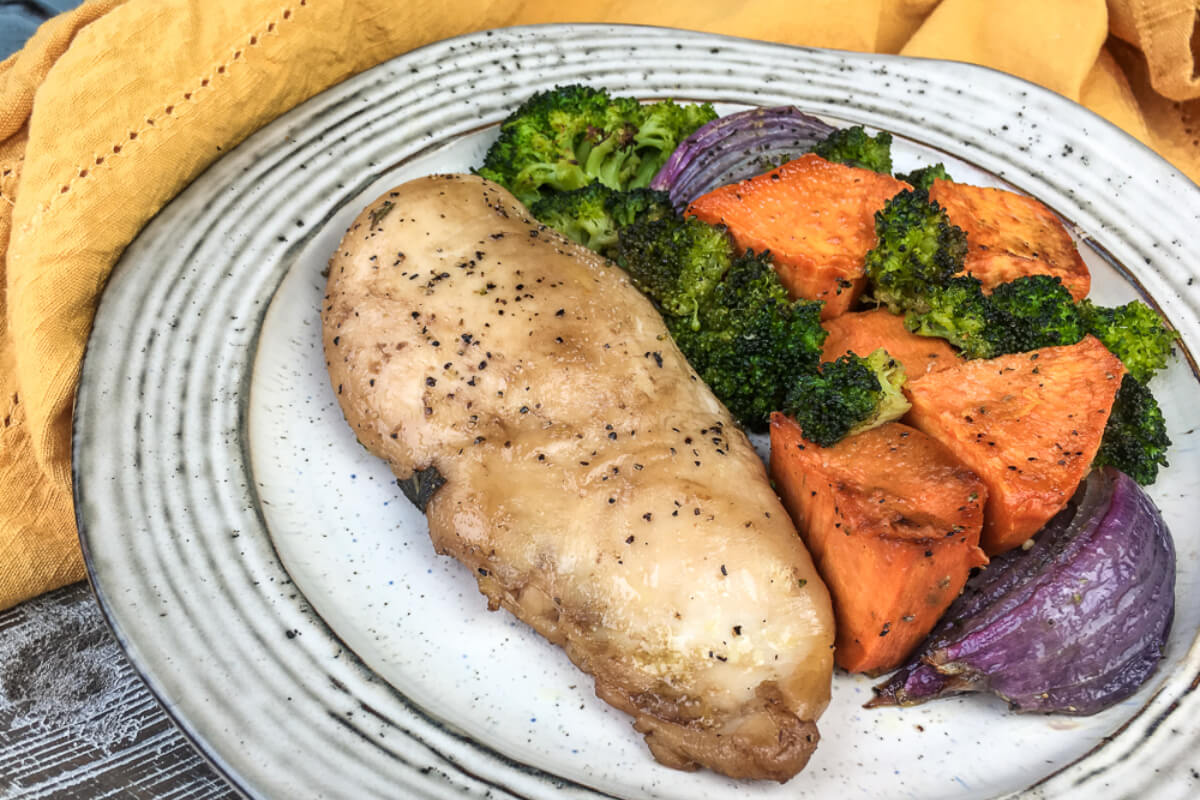 Balsamic Chicken Breasts with  Roasted Sweet Potatoes and Broccoli